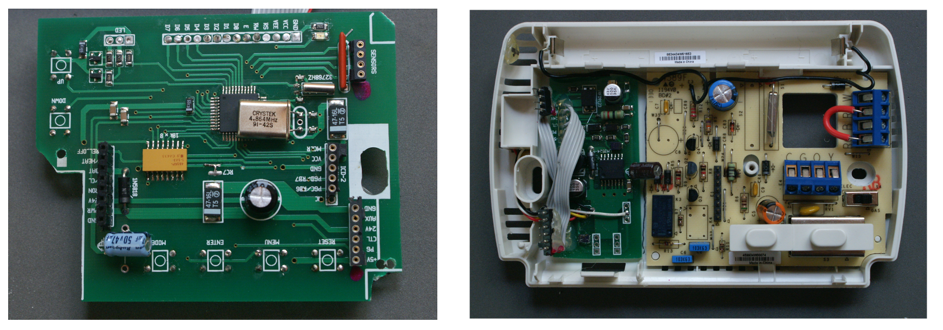 Design Of A Comfortable Home Hvac Thermostat Digital Circuit Board Wiring Diagram Figure 9 Partially Assembled The Left Picture Shows Finalized 8 Right With Key Components Microcontroller Partly