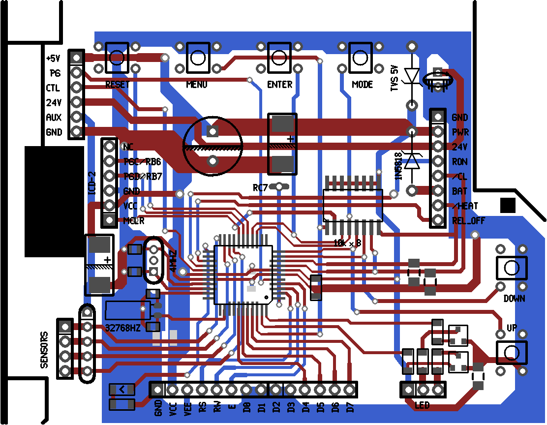 Design Of A Comfortable Home Hvac Thermostat Day And Night Air Conditioner Wiring Diagram Figure 7 Layout Screenshot The Controller Board Elements Are Very Similar To Those Original White Rodgers Control Microcontroller